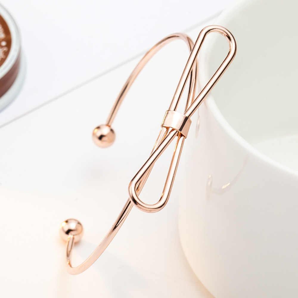 ارتفع الذهب والفضة الأسود مطلي الإسورة المفتوحة الكفة قابل للتعديل الجوف المعادن بسيطة القوس عقدة أساور النساء الرجال اليد مجوهرات