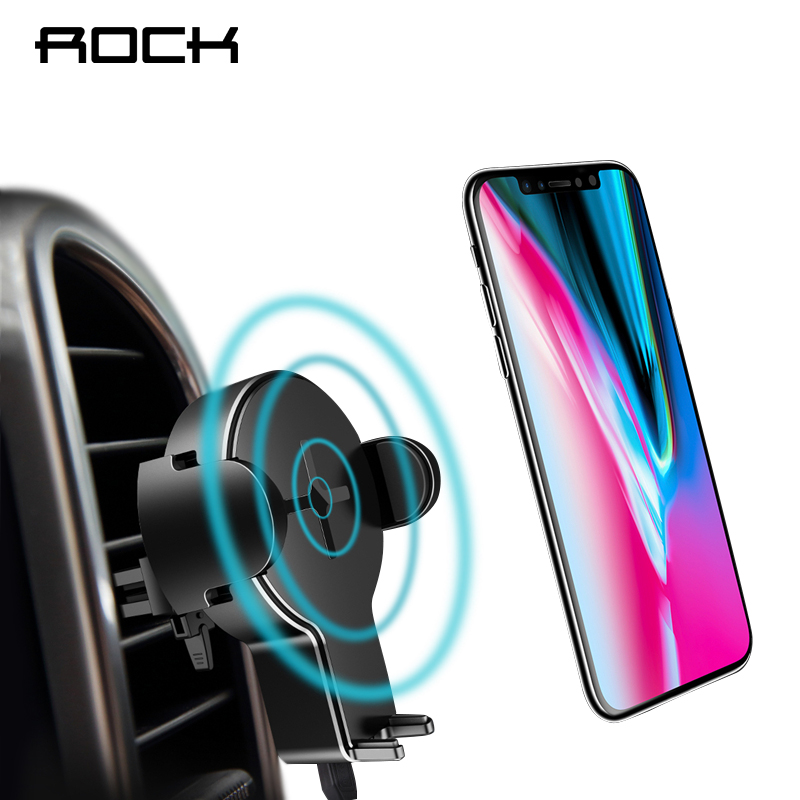 QI Car Wireless Charger Phone Holder, ROCK for iPhone X 8 Samsung Galaxy S8 Note 8 Plus 5W Fast Wireless Charging Pad