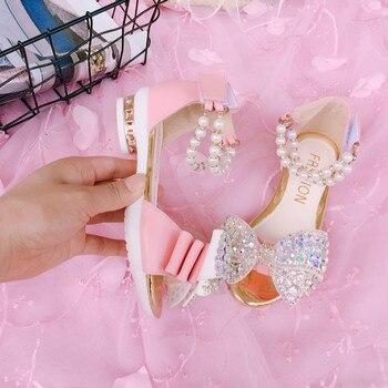 פאייטים גליטר בנות סנדלי קיץ ילדים חדשים נסיכת נעלי נעלי ריקוד לטיני ואגלי ילדים קיץ סנדלי
