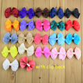 Free shipping, 21 pcs/lot Double Layered Hair Bow Clips 2.75 inch grossgrain and sheer ribbon Bow hair clips