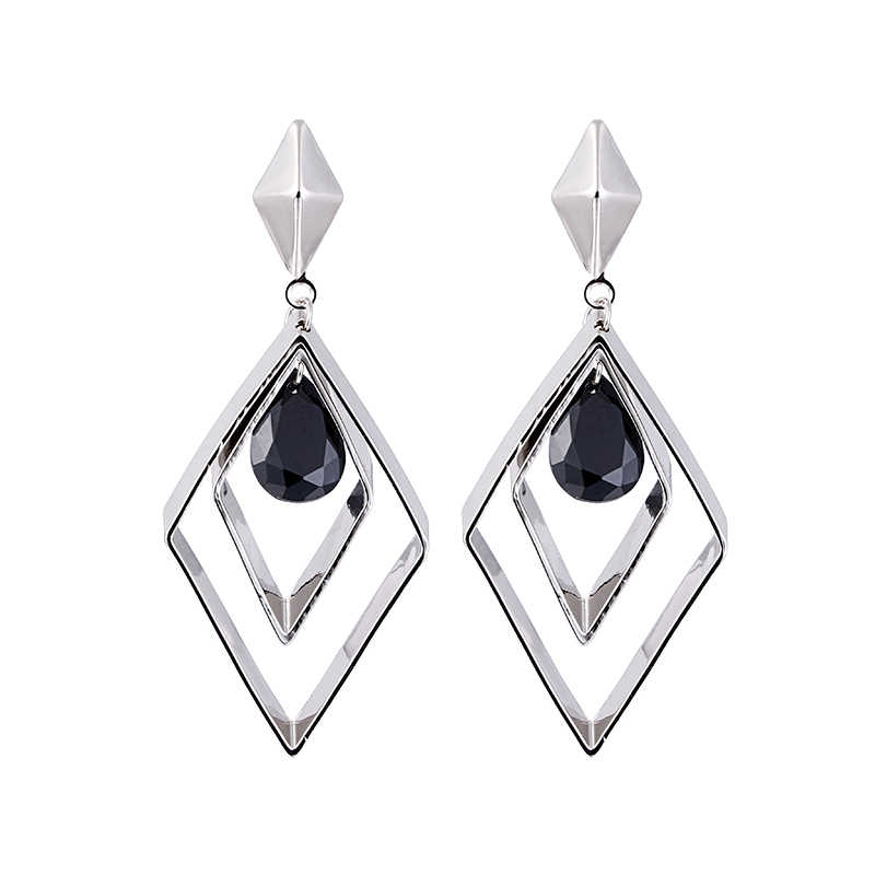 100% 925 sterling silver fashion rhombus black crystal ladies`tassels stud earrings jewelry Anti allergy female birthday gift