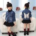 Baby Girls Hole Denim Jackets Coats Fashion Children Outwear Coat Sequins Little Girl Design Girls Kids Denim Jacket Girl Blazer