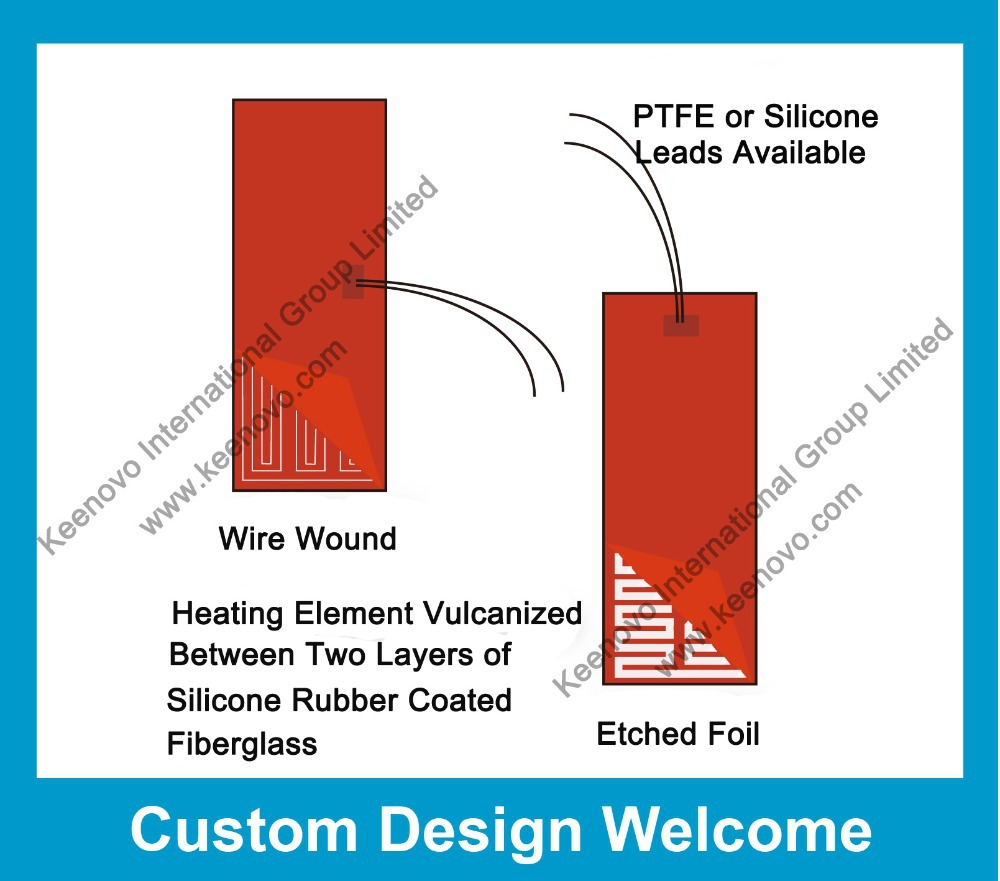Keenovo Custom Designed Manufactured Flexible Silicone Heater 12V 24V 48V 110V 120V 220V 230V 240V 380V