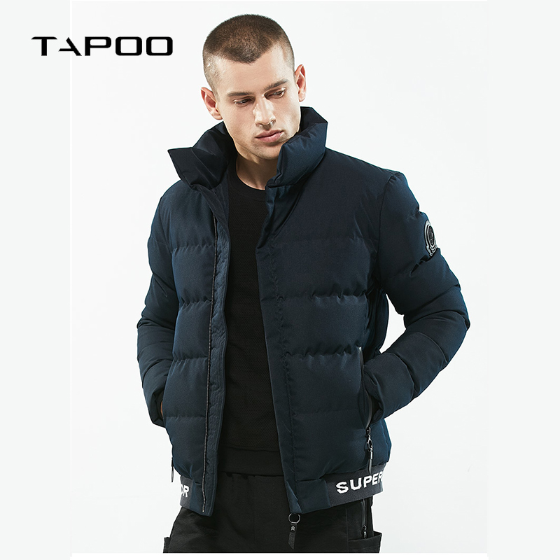 2018 NEW Brand men's Winter jackets stand collar thick letter Hem parkas Mens casual Epaulet Coats casaco de inverno masculino
