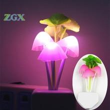 Light dream mushroom lamp LED avatar colorful color mushroom lamp socket Nightlight creative inducti automatic startup EU or US