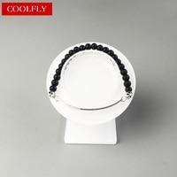 2017 New Thomas 6mm Black Obsidian Beads And Two Skulls Beads Love Bridge Bracelets Length 14