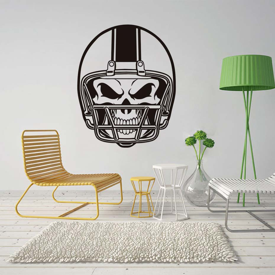 American Football Helmet Skull Wall Stickers Self Adhesive Wallpaper For Kids Bedroom Vinyl Wall Decals Creative Home Decor