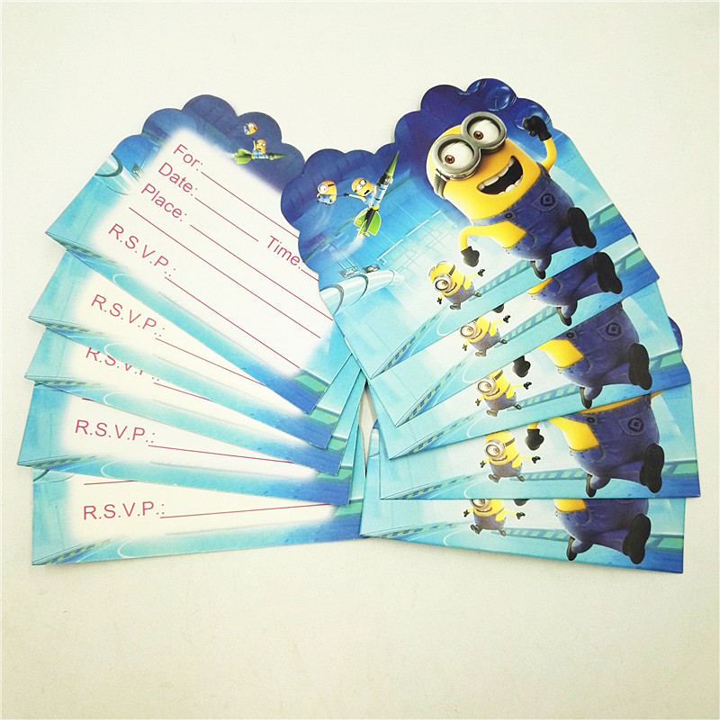 10 unids/lote minions cartoon tarjeta de invitación de la fiesta de cumpleaños d