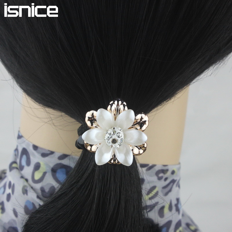isnice 10pcs Lovely Flower Elastic Hair Rope Ties Headwear Rubber Bands Women Ponytail Holder Gum For Hair Accessories ...