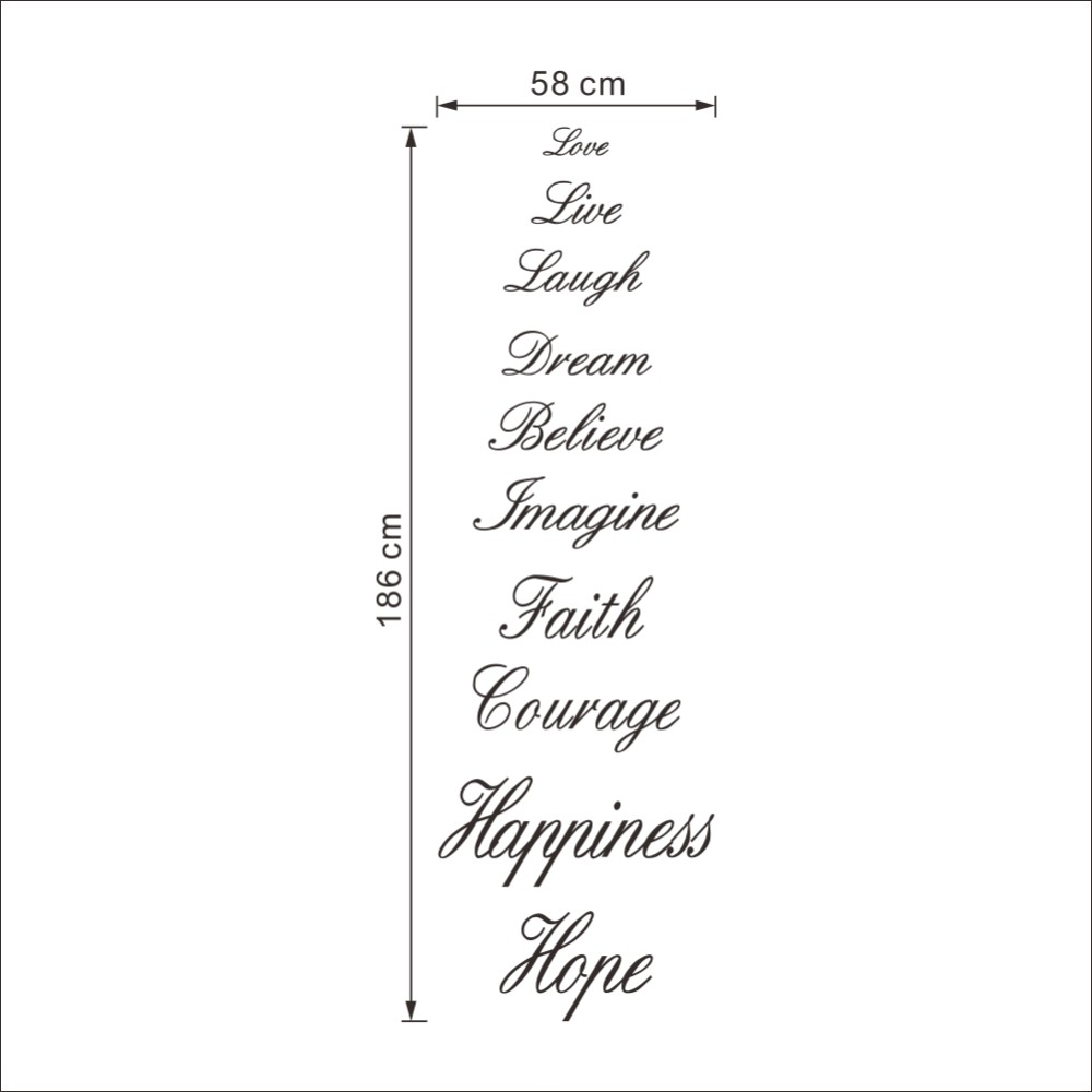 Love Live Laugh Dream Believe Imagine Faith Courage Hiness Hope English Proverb Wall Quote Decal Sticker Words Decor