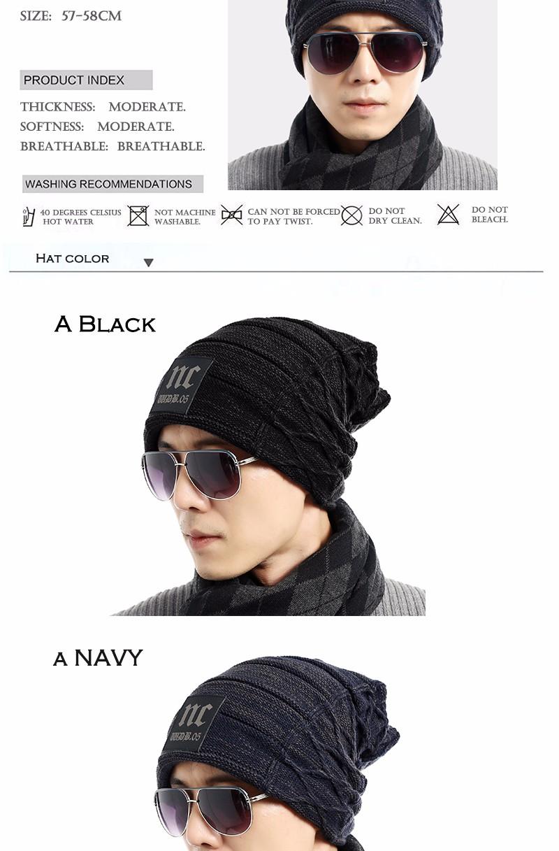 FETSBUY Brand Beanies Knit Men'S Winter Hat Caps Thick Skullies Bonnet Hats For Men Women Beanie Female Warm Baggy Knitted Hat 15