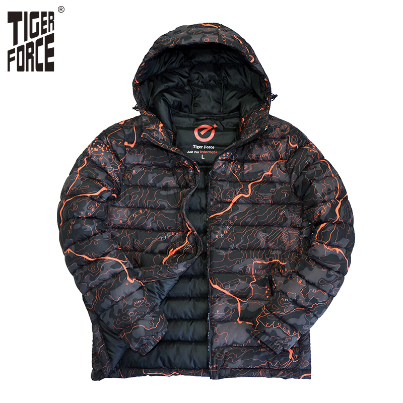 ФОТО TIGER FORCE 2017 Men Cotton Padded Jacket Winter Polyester Coat Camouflage Fashion Jacket Parka European Size Hood Free Shipping