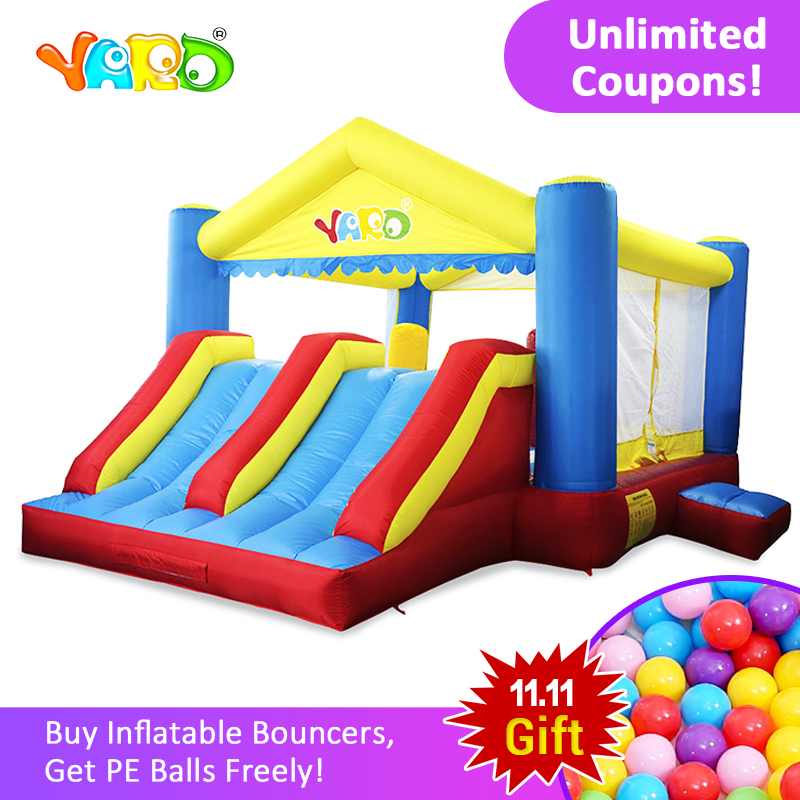 YARD Inflatable Trampoline Outdoors Games For Children Free PE Balls Inflatable Bouncer Castle Double Slides House Use Blower yard home used inflatable bouncer inflatable bounce house bouncy castle with double slides for children outdoor and indoor games