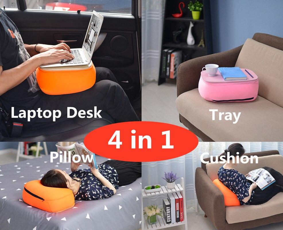 Ordinateur portable bureau/support, coussin de siège de voiture, thé/fichier/plateau de rangement, oreiller sieste 4in1, support pour ordinateur portable pour Pad/téléphone/Mac