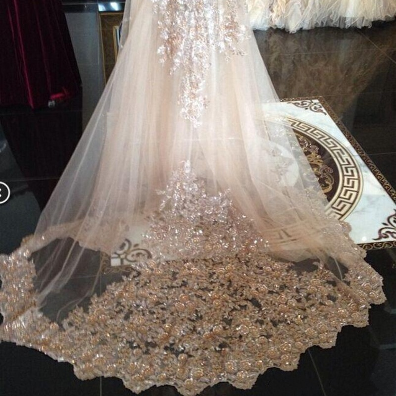 Luxury Cathedral Length Wedding Veil One Layer Sequins Lace Applique Bridal Accessories In Stock