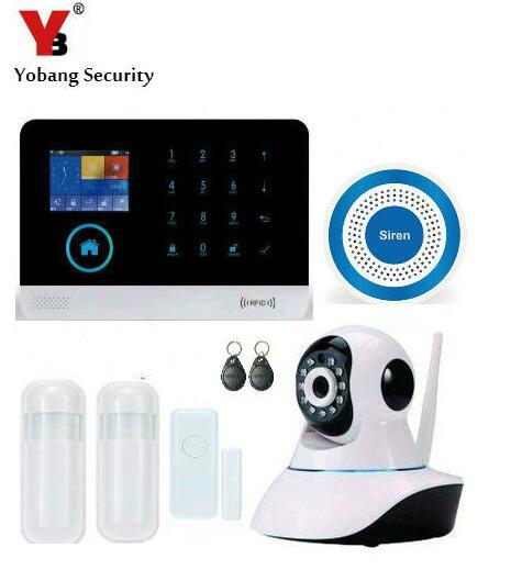 Yobang Security WCDMA/CDMA WiFi 3G Alarm Mainframe Kits Wireless Blue Siren Alarm HD Network IP Camera For Home Security