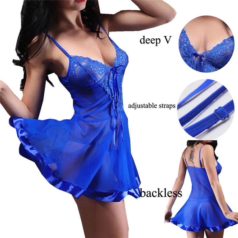 Ningmi المثيرة babydolls chamises مثير ز سلسلة ثونغ نوم اللباس الرباط داخلية النساء ازياء ثوب النوم قميص النوم