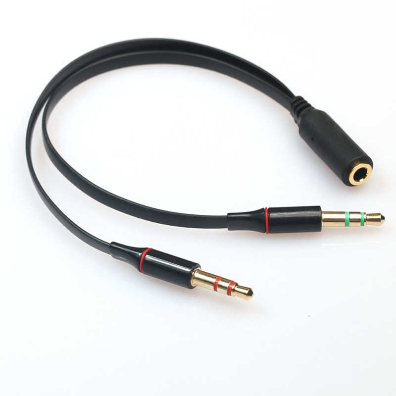 Top Quality 3.5Mm Mini Jack 1 Female To 2 Male (Headset + Mic) Y Splitter Earphone Audio Cable For Pc/Laptop New Fashion