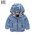 HE Hello Enjoy kids coats boys 2016 spring autumn girls coats and jackets zipper Striped Hooded coats kinderkleding meisjes