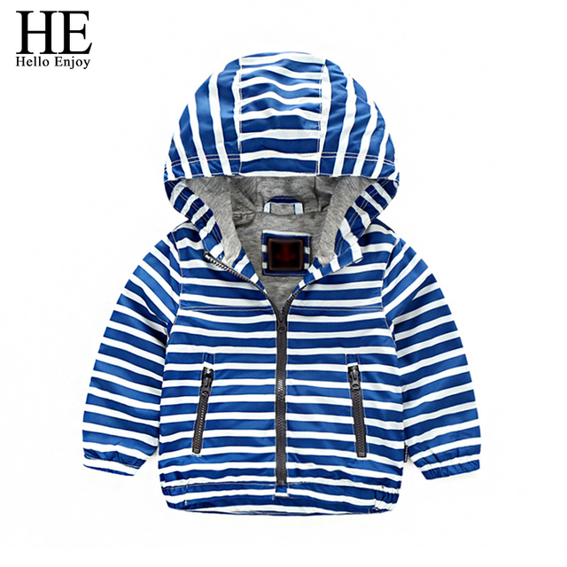 HE Hello Enjoy kids coats boys 2016 spring autumn girls coats and jackets zipper Striped Hooded coats kinderkleding meisjes