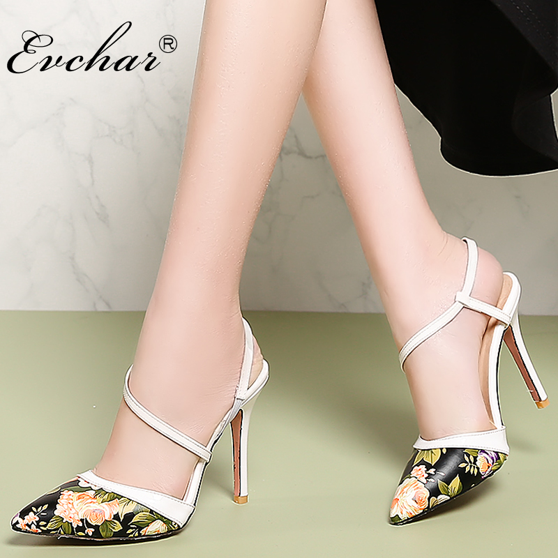 EVCHAR Women super High Heels Shoes pointed Toe thin Heels Sandals Women's Print Sandals sexy Party Footwears plus size 31-47 women pointed toe buckle thin high heels red bottom sandals shoes t strap print leather plus size lady sandals 42 51 sxq0710