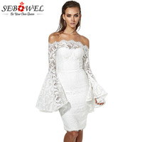 Sebowel Off Shoulder Bell Sleeve Lace Midi Dress Women White Elegant Party Dresses Sexy Slash Neck