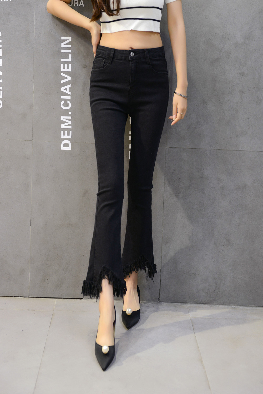 Korean High Waisted Black Flare Jeans bell bottom pants wide leg jeans ulzzang harajuku bodysuit women