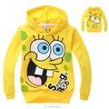 Spongebob 2015 meninos dos desenhos animados camisetas de algodão de manga moda camisola das crianças outerwear roupas