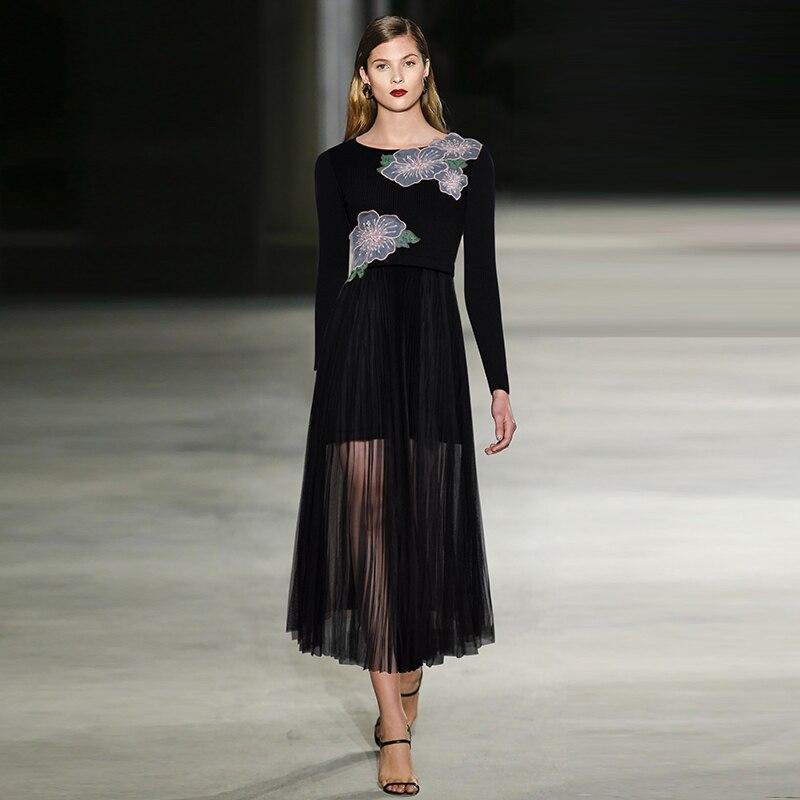 fa584ef37 Designer Laine Piste Maxi En De Qualité Maille Robe Femmes Haute ...