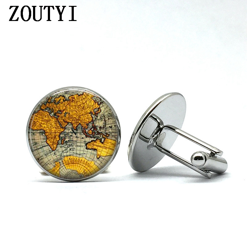 2018/ New Fashion Vintage Cufflinks Glass Dome Earth Planet Earth World Map Art Glass Dome Statement Cufflinks.