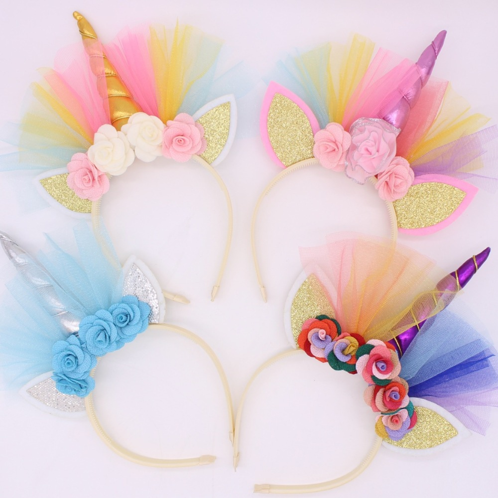 1Pcs DIY Kids Unicorn Headband Glitter Hairband Rainbow Unicorn Horn Hairband Unicorn Bonus For Christmas Party