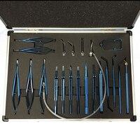 Новый 21 шт. титановый сплав глаз офтальмологический набор инструментов глаз микропинцет ножницы Иглодержатель Набор Хирургических Инстру