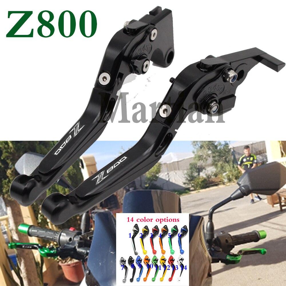 Logotipo l/áser titanio para motocicleta CNC extensible palancas de embrague de freno para kawasaki Z800//E versi/ón 2013 2014 2015 2016 naranja Z800