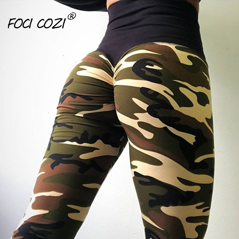 NEW STORE OPENING Women High Waist Camouflage Pants Fashion Capri Trouser Purple Leggings Scrunch Sex Printed High Spandex Pants