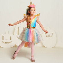Girls Party Dress Up Costume for Kids Unicorn Rainbow Dress Robe Princesse Costume Sleeveless Ball Gown Christmas Girls Clothing(China)