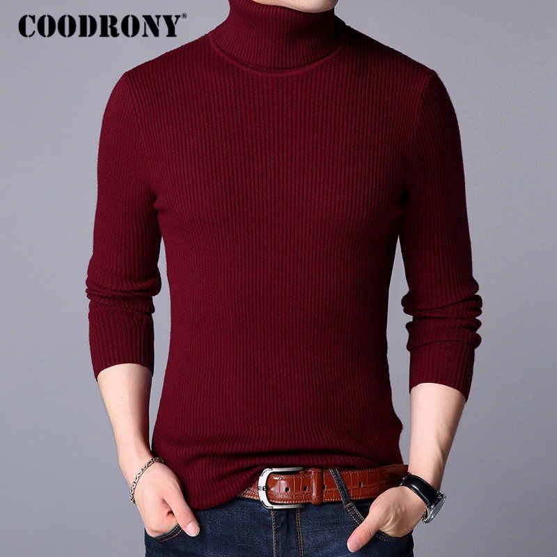 Coodrony 크리스마스 스웨터 남성 의류 2020 겨울 두꺼운 따뜻한 남성 스웨터 캐주얼 클래식 터틀넥 캐시미어 풀 오버 남자 8253