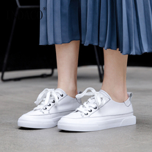 2019 Women Leather Flat Casual Shoes White Comfortable for 2.5cm Canvas