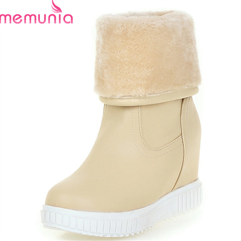 MEMUNIA 2018 new fashion ankle boots for women round toe wedges platform shoes keep warm snow boots female Waterproof black MEMUNIA 2018 new fashion ankle boots for women round toe wedges platform shoes keep warm snow boots female Waterproof black