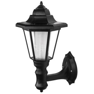 Image 1 - LED solar powered wall lanterns wall light lamp outdoor garden fence door