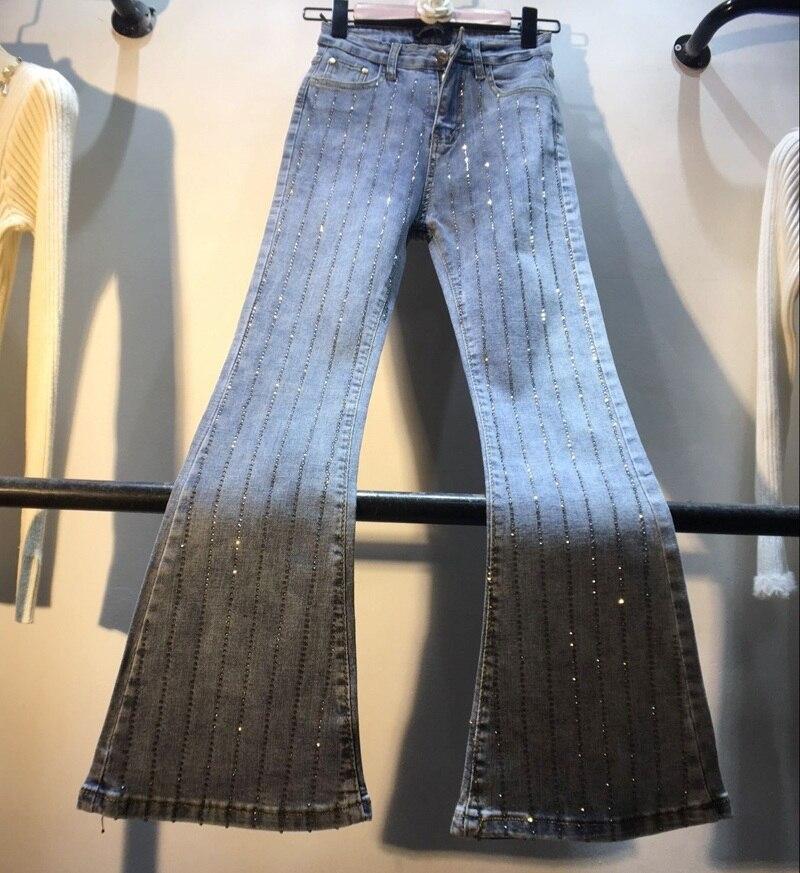 Reasonable New Style Vertical Strip Heavy Work Hot Drill High Waist Slim Horn Elastic Jeans Female Women's Clothing Bottoms