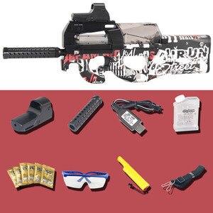 Image 5 - Pistola de juguete eléctrica P90 de Graffiti Edition, Arma de simulación de corte CS de asalto en vivo, pistola de balas de agua suave para exteriores, juguetes para niños