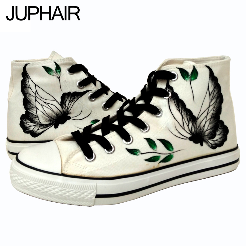ФОТО JUP Mens Males Canvas Painted Butterfly Flats Shoes Personalized Hand Top Fashion Graffiti Comfortable Cow Muscle Schuhe Boots