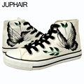 JUP Mens Males Canvas Painted Butterfly Flats Shoes Personalized Hand Top Fashion Graffiti Comfortable Cow Muscle Schuhe Boots