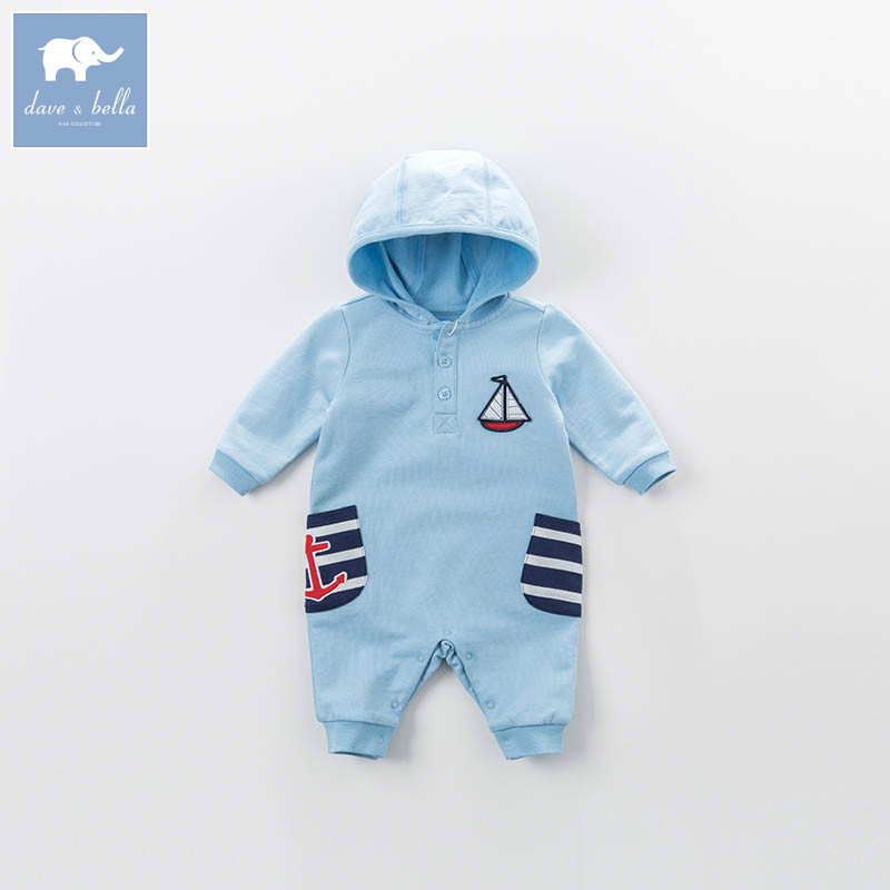 DBA6388 dave bella spring new born baby boys hooded romper infant children clothes 1 pieceDBA6388 dave bella spring new born baby boys hooded romper infant children clothes 1 piece