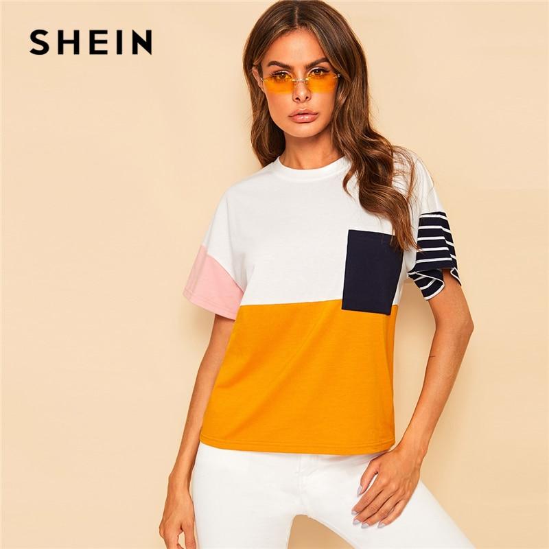 SHEIN Multicolor Pocket Front Color Block Tee Casual T Shirt Women Summer Striped Short Sleeve Streetwear Loose Tshirt Tops