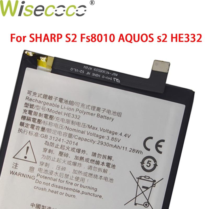 Wisecoco em estoque 2930 mah nova bateria original para sharp s2 fs8010 aquos s2 he332 baterias com número de rastreamento