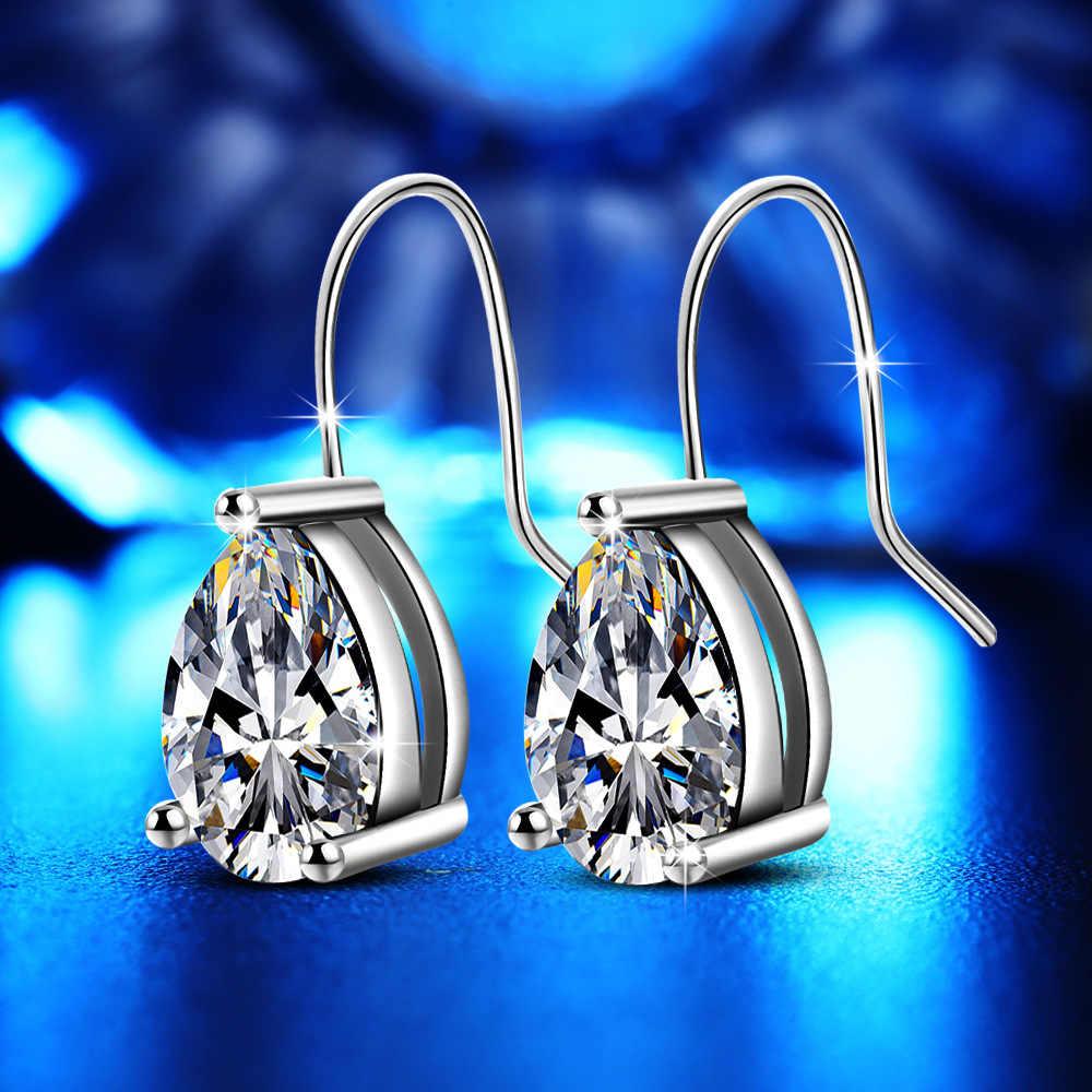 פשוט מים טיפות Drop עגילים לנשים AAA זירקון עגיל עגילי 925 כסף סטרלינג תכשיטי חריש Brincos Brinco F252