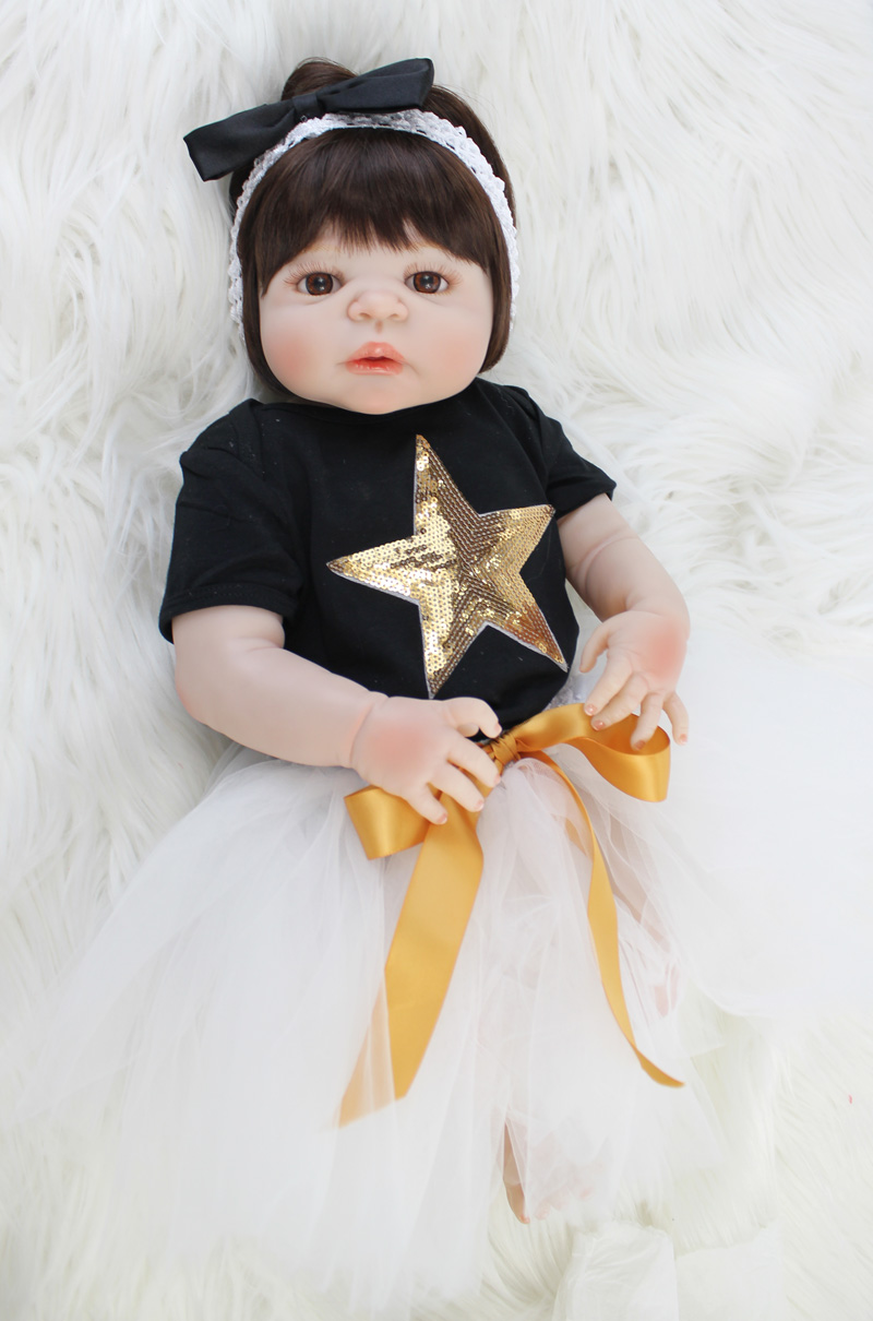 55cm Full Silicone Body Reborn Baby Doll Toys Realistic 22inch Newborn Bebe Princess Toddler Girl Doll Waterproof Body Bathe Toy