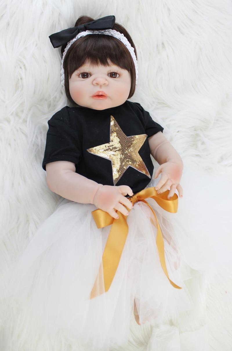 55cm Full Silicone Body Reborn Baby Doll Toys Realistic 22inch Newborn Bebe Princess Tod ...