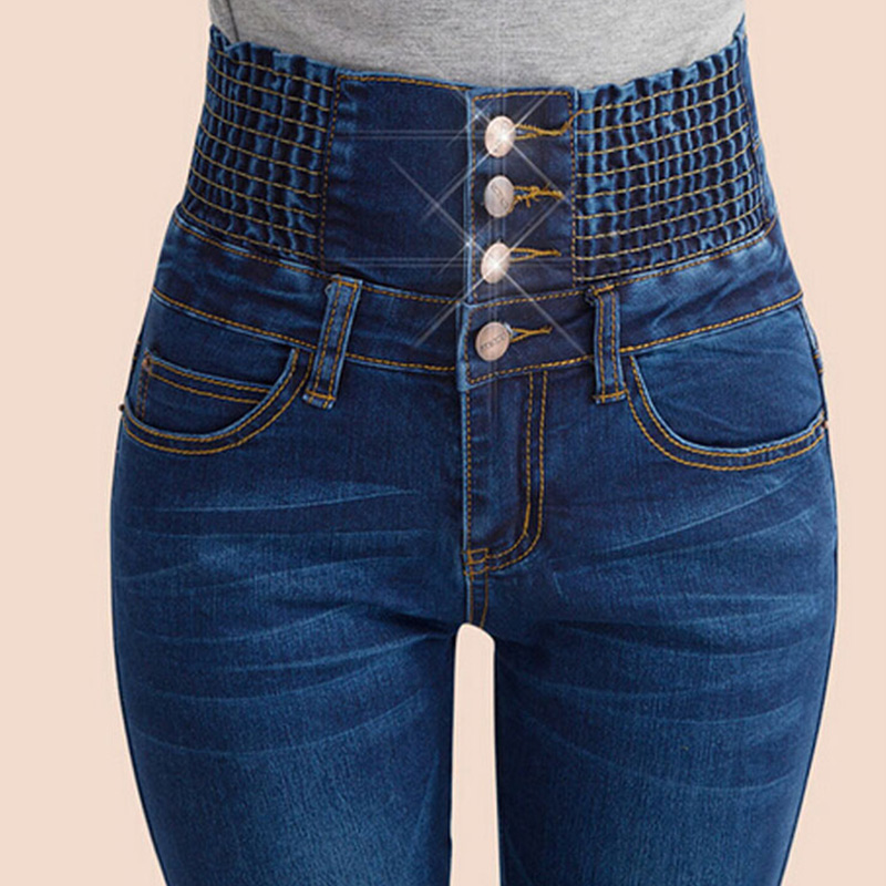 Spring High Waist Jeans Women's Pencil Pants Elastic Waist Single Breasted Trousers For Women Plus Size Summer Leggings Woman
